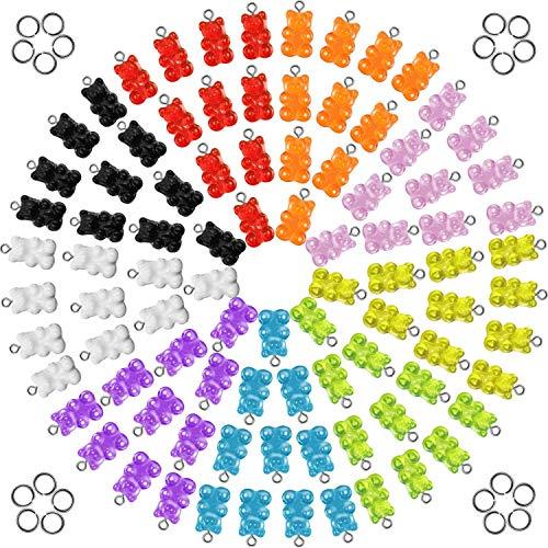 UR URLIFEHALL 200 colgantes coloridos con diseño de oso de gomita de resina para manualidades, collares y accesorios (color al azar)