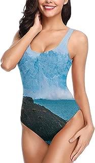 Funny and Happy Iceberg Women's One Piece Swimsuits U Neck Backness Beach Swimwear Bathing Suit