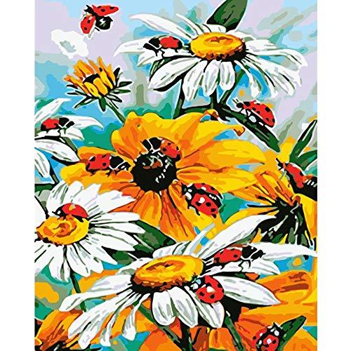 QIANGTOU Pintura por números DIY Mariquitas en Movimiento Flor Hecha a Mano para la decoración de la Pared de la Sala Pintura al óleo 40x50cm Sin Marco