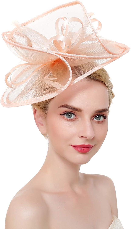 ORIDOOR Fascinators Hat for Women Derby Church Cocktail Tea Party Fascinator Flower Feathers Bridal Headband Clips Headpiece (D3 Champagne)