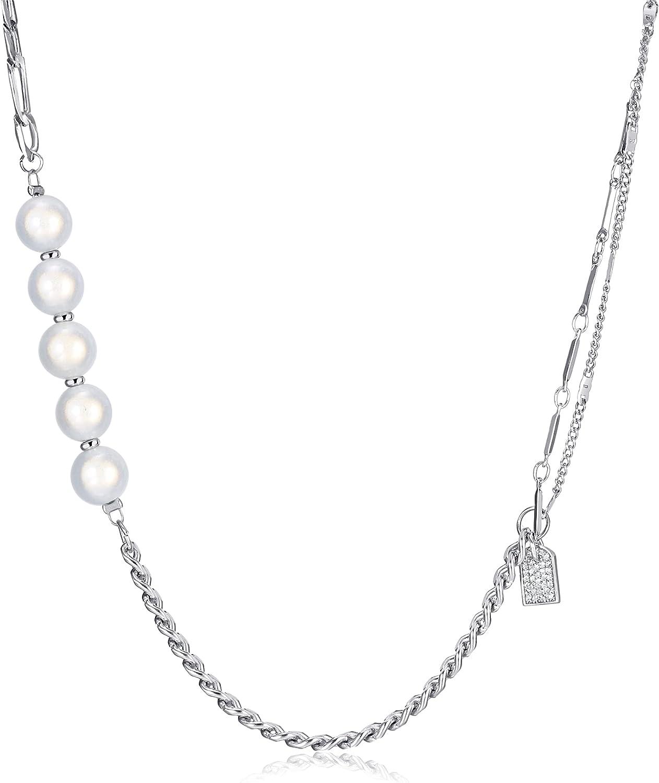 BYIA Pearl Necklace Choker for Women, Handmade Luminous Pearl Irregular Splicing Pearl Necklace Women Teen Girl Jewelry Gift