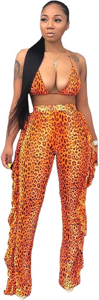 ZJFZML Sexy Mesh Two Piece Bikini Sets Women Crop Top and Ruffles Pant Beachwear Swimsuit