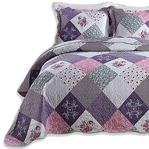 Couvre-lit Violet Quilts King Size 230 x 250 CM Ensemble de literie Design Floral réversible avec 2 taies d'oreiller 50 x 70 CM