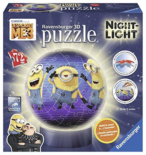 Ravensburger Italy- Despicable Puzzle 3D Lampada Notturna Minions Cattivissimo Me, 11821