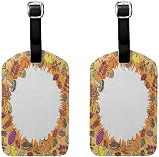 Harvest Luggage tag Soft (Pack of 2) Protect personal privacy Circular Frame with Dried Leaves Nuts Mushrooms Persimmon Environment Food Orange Multicolor