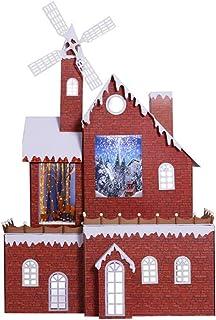 SSBH 220cm de neige de Noël Musique Moulin à vent Chalet, Maison Décoration de Noël Neige, Jardin d'extérieur Décor Mall H...
