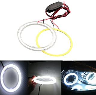 GrandviewTM 1 Pair (2pcs) Car Light LED Chips 100MM 72SMD Angel Eyes Halo Ring Headlight Warning Lamps 12V with Shell-White