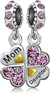 Mother Mom Love Daughter Heart Clover Birthstone Jan Dec Dangle Charms Bead for Bracelets