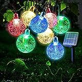 Ibello Catena luminosa Solare Stringa di Luci 6 Metri 30 Palline LED Impermeabile Energia Solare Bulbo Luminoso Luce Colorata 8 Modalità Decorativa da Festa Giardino Gazebo (Colorato)