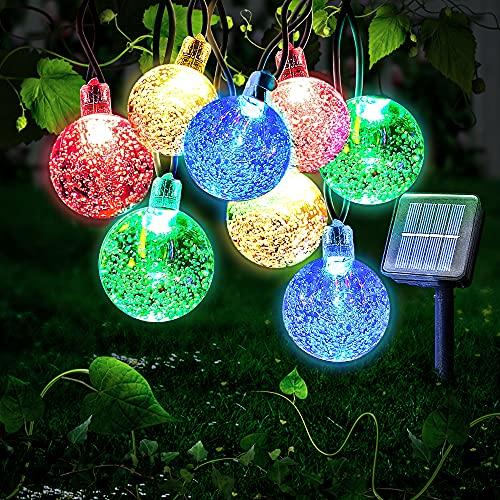 Ibello Guirnaldas Luces Exterior Solares, 30 LED Cadena de Luces Multicolor Impermeable 8 Modos de iluminación para Interiores y Exteriores...