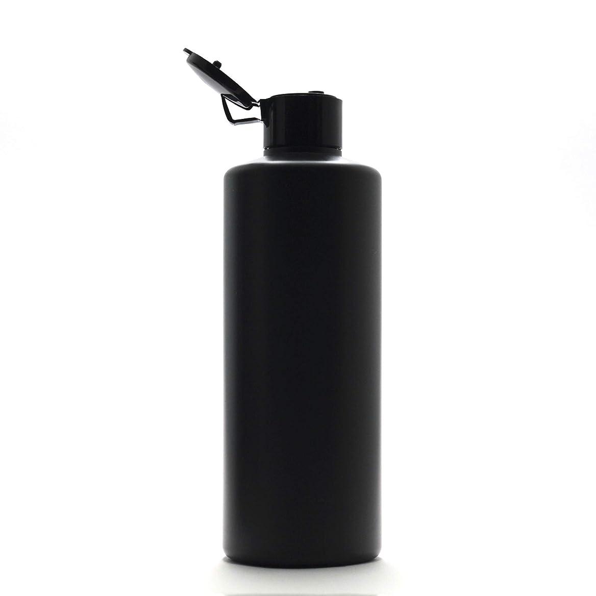 枕献身敷居プラスチック容器 300ml PE ストレートボトル [ ボトル: 遮光黒 / ヒンジキャプ:ブラック ※パッキン付き ]