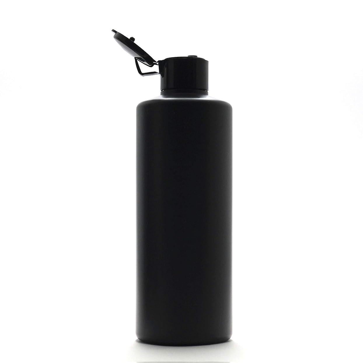 決めます認証カブプラスチック容器 300ml PE ストレートボトル [ ボトル: 遮光黒 / ヒンジキャプ:ブラック ※パッキン付き ]