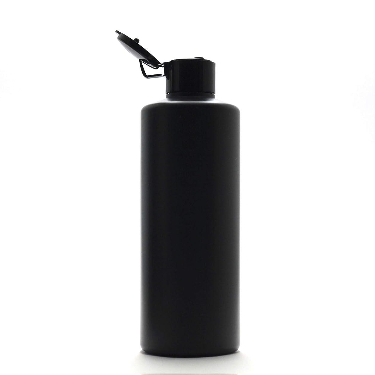 引き出しコックゲートプラスチック容器 300ml PE ストレートボトル [ ボトル: 遮光黒 / ヒンジキャプ:ブラック ※パッキン付き ]