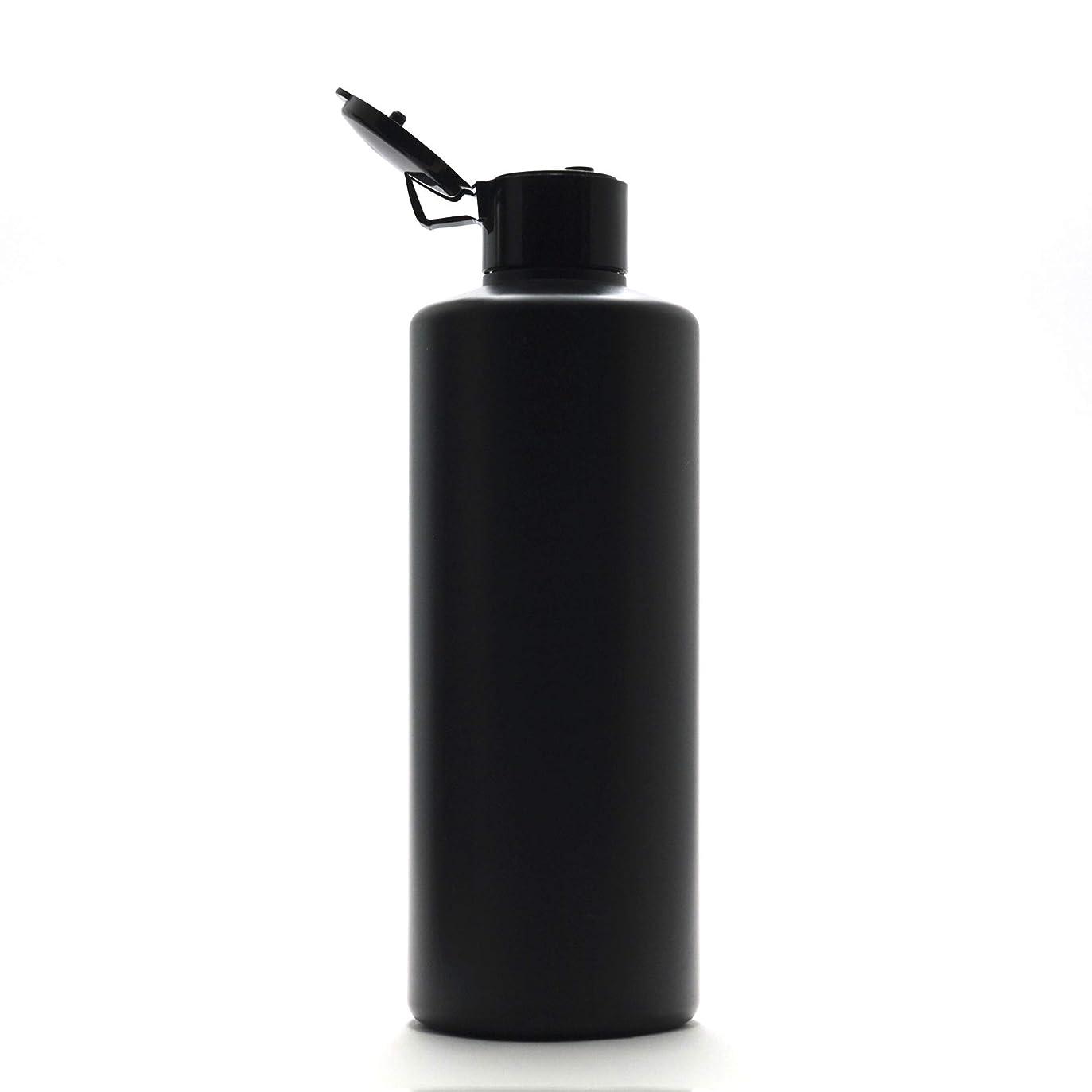 プラスチック容器 300ml PE ストレートボトル [ ボトル: 遮光黒 / ヒンジキャプ:ブラック ※パッキン付き ]