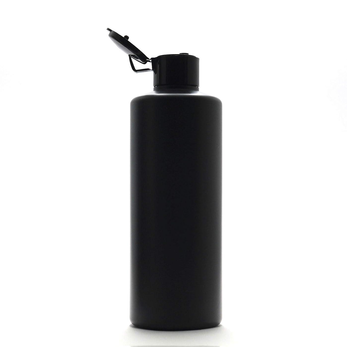 ミッションアクロバット酔ったプラスチック容器 300ml PE ストレートボトル [ ボトル: 遮光黒 / ヒンジキャプ:ブラック ※パッキン付き ]
