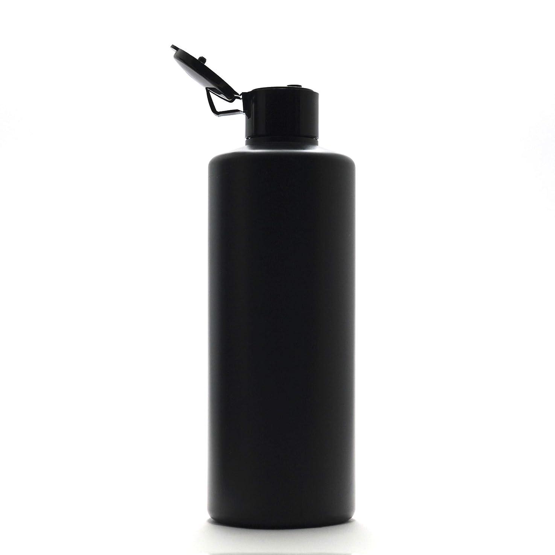保守可能ロケット英語の授業がありますプラスチック容器 300ml PE ストレートボトル [ ボトル: 遮光黒 / ヒンジキャプ:ブラック ※パッキン付き ]
