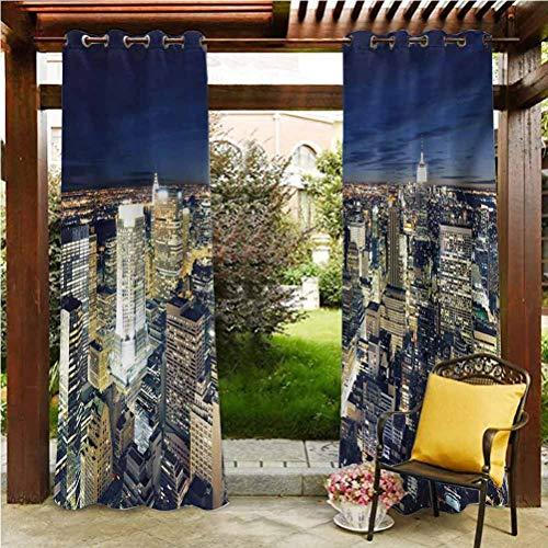 ScottDecor Urban Patio Outdoor Curtain for Patio,Porch,Backyard Modern Cityscape After Sunset Manhattan New York USA Architectural View Yellow Tan Dark Blue 84' W by 84' L(K214cm x G214cm)