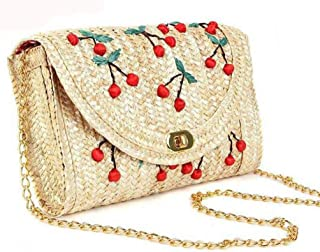 Womens Rattan Woven Crossbody Bag Handbag Summer Beach Shoulder Bag with Clasp