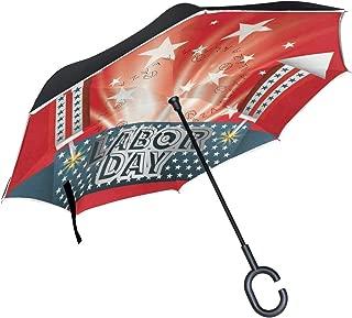 Inverted Umbrella Labor Day Design Reverse Umbrella UV Protection Windproof for Car Rain Sun Outdoor Black