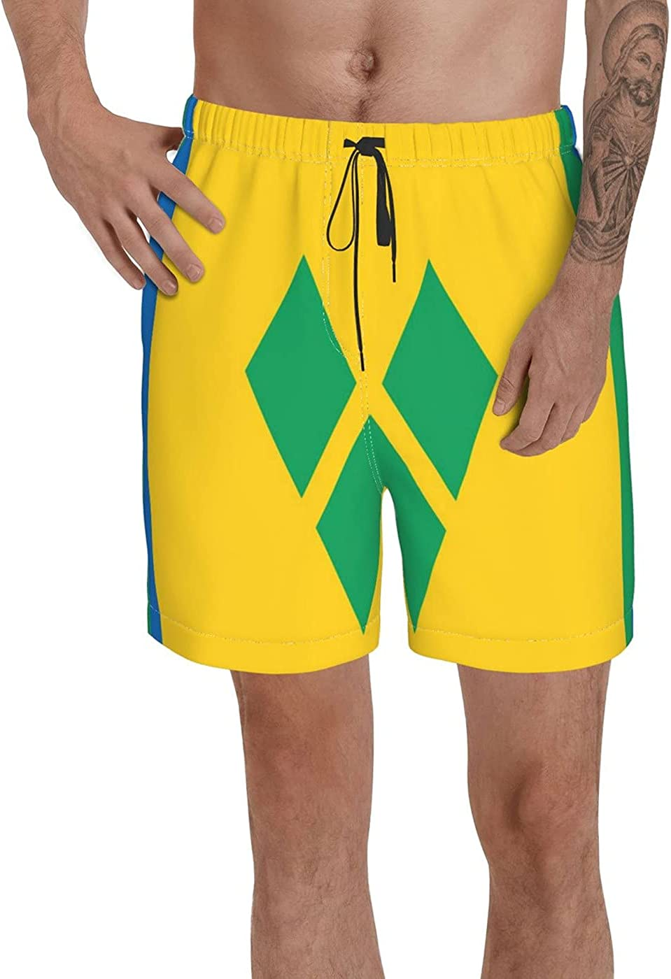 Count Saint Vincent Flag Men's 3D Printed Funny Summer Quick Dry Swim Short Board Shorts with