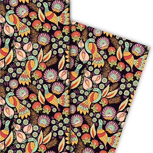 Kartenkaufrausch Vintage Ethno Geschenkpapier Set 4 Bogen mit Blüten und Vogel, bunt, für liebevolle Geschenk Verpackung, Designpapier, scrapbooking 32 x 48cm