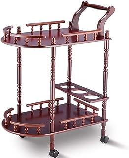 USA_BEST_SELLER Wood 2-Tier Kitchen Serving Bar Trolley Cart Stand Food Storage Bar Hotel Carts