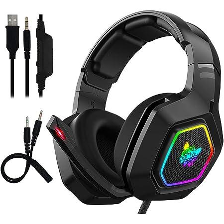 Auriculares Gaming con Microfono - Maxesla Cascos Gaming con Sonido Envolvente, Reducción de Ruido y Ajustable, Luz LED y Control Volumen, para PS4 / Xbox One X / PC / Laptop / Tablet