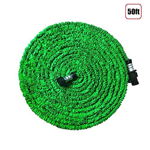 Bukicho erweiterbarer Gartenschlauch, 7,6 m, leicht, flexibel, faltbar, ausziehbarer Wasserschlauch mit 1,9 cm soliden Beschlägen, dreilagiger Latexkern für alle Ihre Bewässerungsbedürfnisse (grün)