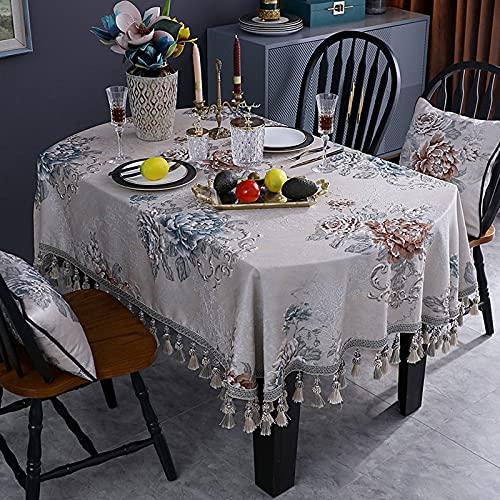 SUHETI Tovaglia Ricamo Peonia con Nappa Tovaglias Resistente alle Pieghe con Design Jacquard Ovale per Le Feste in Cucina da Tavolo,Beige,140x240cm