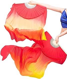 Women 1 Pair 100% Silk Long Belly Dance Fan Veils 18090 cm