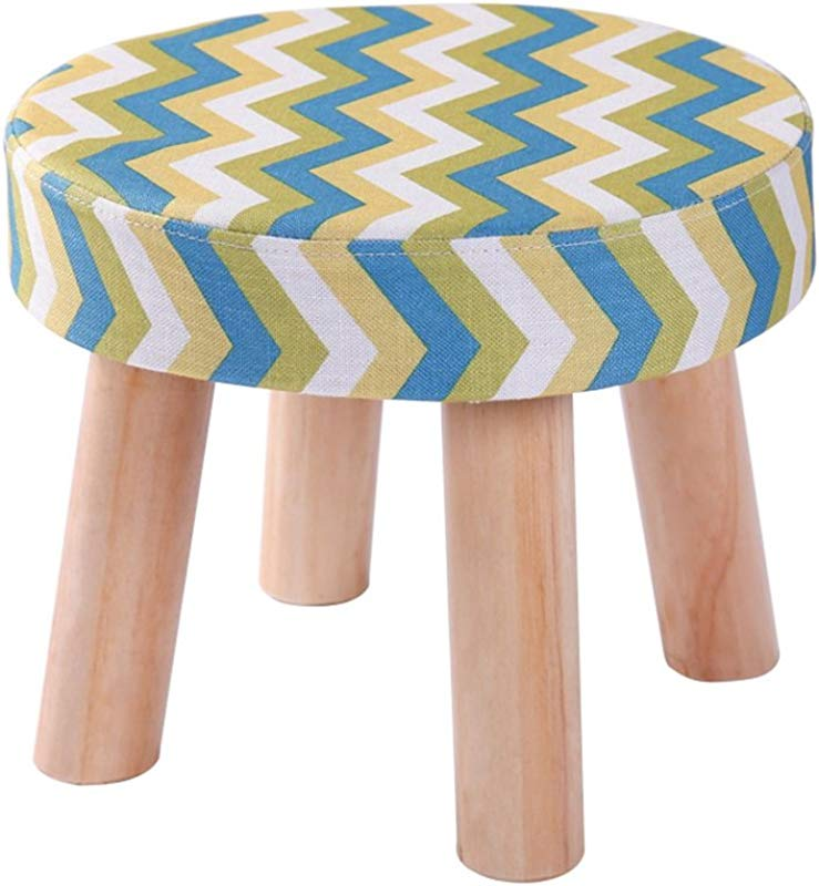 Fashion Solid Wood Shoes Stool 4 Legs Round Upholstered Footstool Sofa Low Stool Footrest Stripe