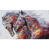 Kit de pintura de diamantes 5D,Caballo animal colorido Diamante Pintura Kits DIY 5D Kit de Pintura de Diamante,para decoración de pared del hogar 30x40 cm(Sin marco)