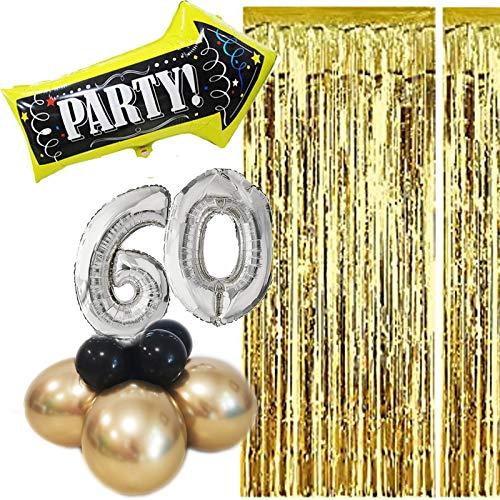 KREA Globos para fiesta de cumpleaños de mujer de 50 años, decoración de mesa con cortina de hilos metálicos, rosagold, globo con forma de flecha, indicador de ruta para fiestas (60 años de hombre)