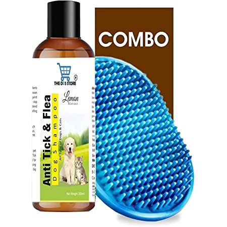Dog Shampoo & Puppy Shampoo - Naturally Organic Dog Shampoo for Smelly Dogs Grooming Products for Dogs, Deshedding Shampoo for Dogs Pet Shampoo 200 ml (Anti Tick & Flea (Lemon)+Bath Brush)