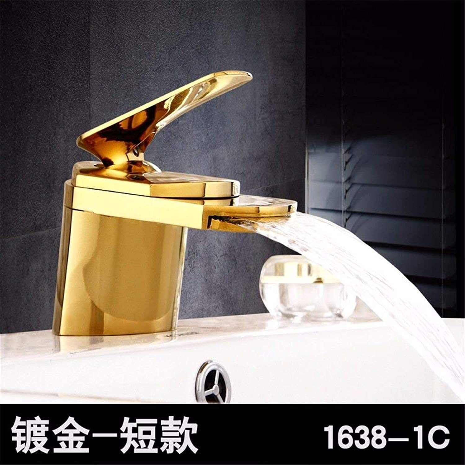 Oudan Kitchen Mixer Tap solid brass hot and cold water kitchen sink basin mixer tap basin mixer tap waterfall (color   -, Size   -)