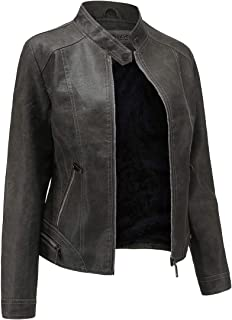SummerDiary Women's Faux Leather Jacket Moto Casual Short Coat for Spring and Fall Fleece Jackets