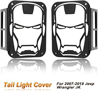 OCPTY Iron Man Jeep Tail Light Protectors Black Light Guard For Rear Taillights (Tail Light) Cover for 2007 2008 2009 2010 2011 2012 2013 2014 2015 2016 2017 Jeep Wrangler JK