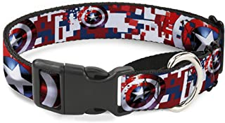 Buckle-Down Dog Collar Martingale Captain America Shield Digital Camo Blue White Red 13 to 18 Inches 1.5 Inch Wide