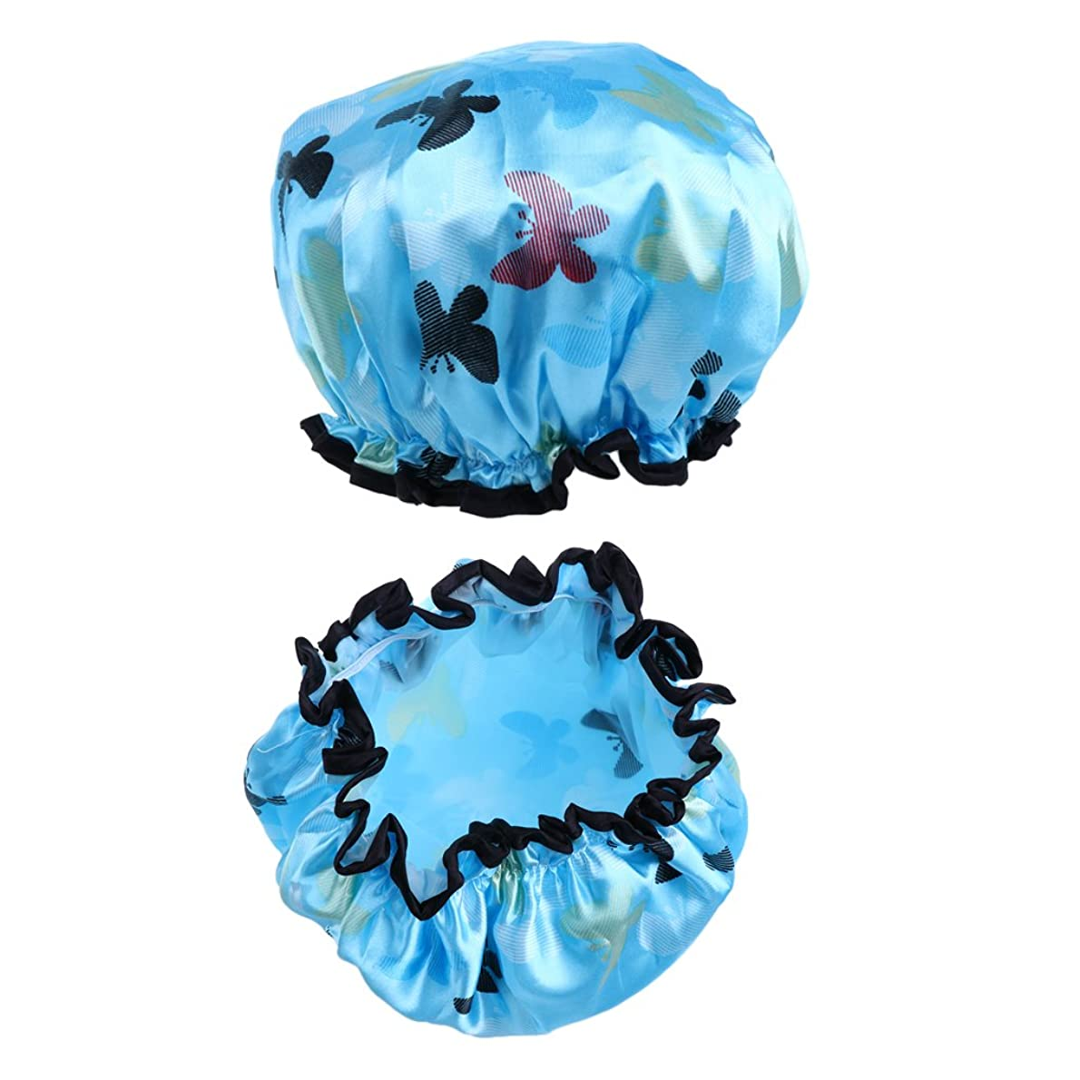 受動的荒らす鳩chiwanji シャワーキャップ 入浴キャップ バスキャップ 帽子 お風呂 シャワー用 防水帽 2個セット 全7色 - ライトブルー