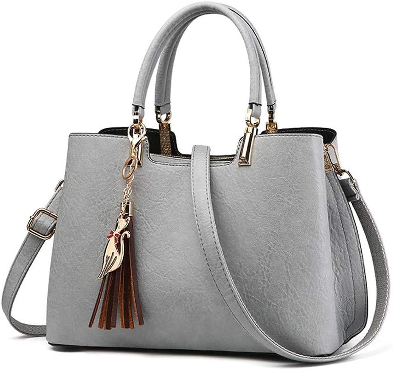 NZZNB Women's Handbag European Fashion Soft Leather Ladies Shoulder Bag Solid color Multi-Pocket Office Satchel Metal Cat Tassel Tote Purse Top-Handle Handbags