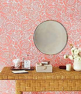 Rockin Roses Modern Floral Wall Stencil - Stenciling Custom Design - Bedroom or Nursery Wallpaper Pattern