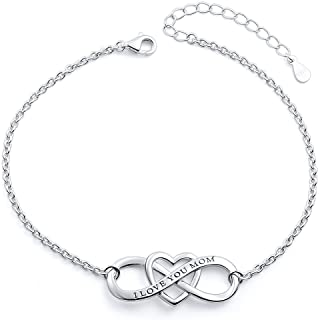"""Mother`s Birthday Gifts S925 Sterling Silver""""I Love You Mom"""" Heart Bracelet/Necklace for Mother Mama Mommy Mum"""