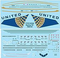 デカール 1/144 UNITED AIRLINES LIVERY BOEING 787 DECALS TB DECAL TBD154