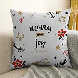 FreeKite Joy Printed Custom Pillowcase Christmas Themed Flowers Swirls Stars Celebratory Arrangement Merry Illustration Decorative Sofa Hug Pillowcase W24 x L24 Inch Camel Red Black