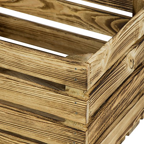 LAUBLUST 3er Set Große Vintage Holzkisten - 40x30x25cm, Geflammt, Neu, Unbenutzt | Möbel-Kiste | Wein-Kiste | Obst-Kiste | Apfel-Kiste | Deko-Kiste aus Holz - 3