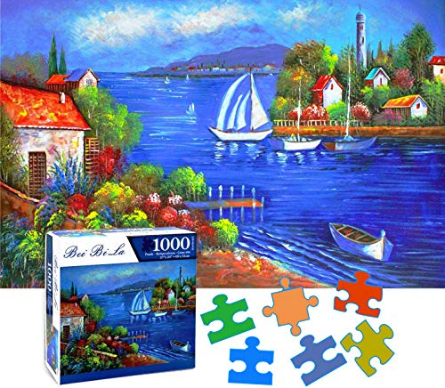 SZXFUP Jigsaw Puzzles 1000 Pieces for Adults Kids 27x20 Inches -Colorful Lake View,Large Puzzle Game Toys, Home Decoration