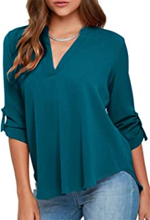 EFOFEI Womens Long Cuffed Sleeve Notch V Neck Chiffon Solid Color Tops Blouse