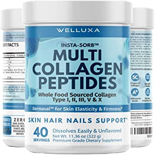 Multi Collagen Protein Powder for Women (8g/Scoop) - 5 Hydrolyzed Collagen Peptides - Types I, II, III, IV, and X – Suppor...