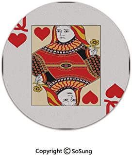 Queen Round Area Rug,Queen of Hearts Playing Card Casino Decor Gambling Game Poker Blackjack Deck,for Living Room Bedroom Dining Room,Round 3'x 3',Red Yellow White