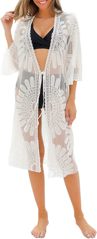 Blooming Jelly Women's Swimsuit Cover Ups Lace Floral Crochet Beachwear Long Kimono Cardigan